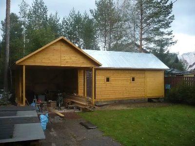 Строительство гаража и бани под одной крышей